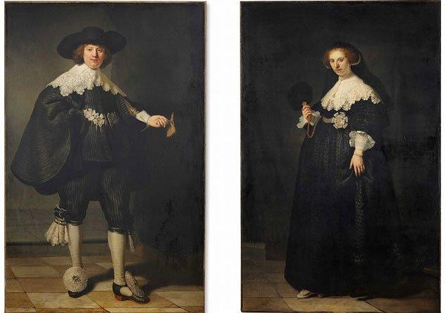 Pendant Portraits Of Maerten Soolmans & Oopjen Coppit by Rembrandt Van Rijn